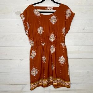 Vintage Style Dress with Pockets Rust Medal Color